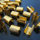 Finding - 6 pcs Gold Adjustable Crimp Round Tone Tube Curve Fold Over End Cap 10mm x 13mm
