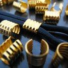 Finding - 6 pcs Gold Adjustable Crimp Round Tone Tube Curve Fold Over End Cap 8mm x 7.5mm