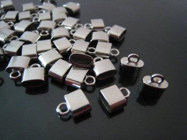 Finding - 6 pcs Silver Small Oval Flat End Cap 9mm x 8mm x 4mm  ( inside 6mm x 3 mm Diameter )