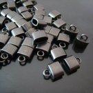 Finding - 6 pcs Black Small Oval Flat End Cap 9mm x 8mm x 4mm  ( inside 6mm x 3 mm Diameter )