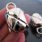 Finding - 2 pcs Silver Round Very Large Tone Cord Buckle End Cap with Loop ( inside 15mm x 13mm )