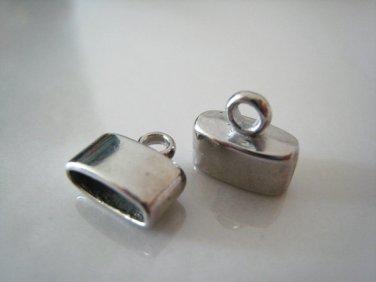 Finding - 6 pcs Silver Oval Flat End Cap 10mm x 11mm ( inside 9.5mm width )
