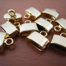 Finding - 6 pcs Gold Oval Flat End Cap 10mm x 11mm ( inside 9.5mm width )