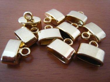 Finding - 6 pcs Gold Oval Flat End Cap 10mm x 11mm ( inside 9.5mm width )