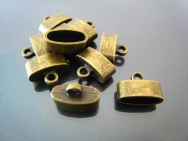 Finding - 4 pcs Antique Brass Oval Flat End Cap 15mm x 10mm x 7mm ( inside 12mm x 5mm width )