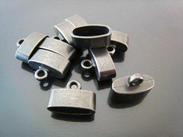 Finding - 4 pcs Black  Oval Flat End Cap 15mm x 10mm x 7mm ( inside 12mm x 5mm width )