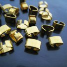Finding - 10 pcs Gold Adjustable Crimp Round Tone Tube Curve Clip Fold Over End Cap 6.5mm x 4mm