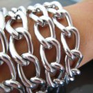 Finding - 1 Yard of Silver Large Chain Fashion Curb Link ( 17mm x 11mm width each Oval )
