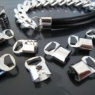 .Finding - 6 pcs Silver Clamp Fold Over End Crimps with Large Loop 14.5mm x 9.5mm ( Inside 8mm )