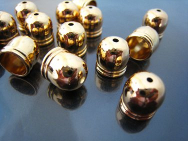 Finding - 4 pcs Gold Dome Round Tone Cord Buckle End Cap with Small Hole ( Inside 8mm diameter )