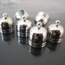 Finding - 4 pcs Silver Dome Round Large Tone Cord Buckle End Cap with Loop ( inside 12mm Diameter )