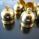 Finding - 4 pcs Gold Dome Round Large Tone Cord Buckle End Cap with Loop ( inside 12mm Diameter )