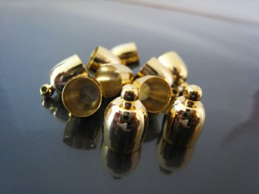 Finding - 4 pcs Gold Bullet Round Large Tone Cord Buckle End Cap with Loop ( inside 8mm Diameter )