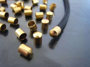 .Finding - 10 pcs Gold Round Tone Cord End Cap without Loop and Hole ( Inside 3mm Diameter )