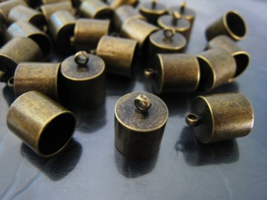 Finding - 4 pcs Antique Brass Round End Cap with Loop 12mm x 10mm ( inside 9mm Diameter )