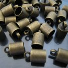 Finding - 10 pcs Antique Brass Round End Cap with Loop 10mm x 6mm ( inside 5mm Diameter )