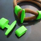 Finding - 1 Set Neon Green T Bar Hook Loop Clasp Toggle