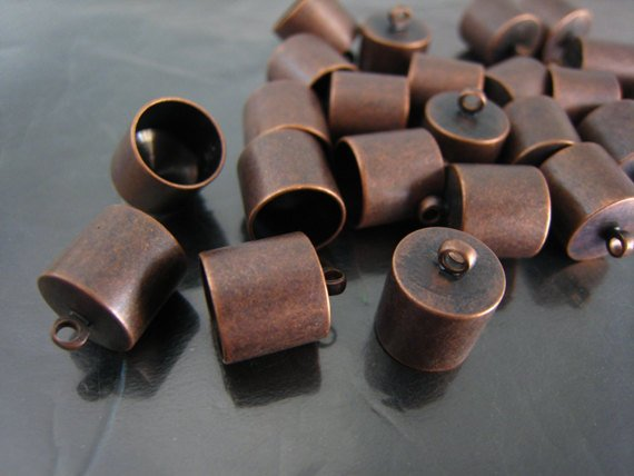 Finding - 4 pcs Red Copper Round End Cap with Loop 12mm x 10mm ( inside 9mm Diameter )