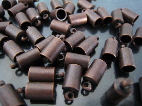 Finding - 6 pcs Red Copper Round End Cap with Loop 12mm x 6mm ( inside 4.8mm Diameter )