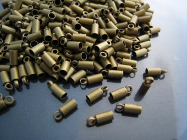Finding - 10 pcs Antique Brass Round End Cap with Loop 8mm x 3mm ( inside 2mm Diameter )