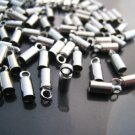 Finding - 10 pcs Silver Round Tone Cord Buckle End Cap with Loop ( inside 2mm Diameter )