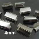Finding - 10 pcs Silver Plated Flat Clamp Fold Over End Cap Crimps ( Inside 4mm )