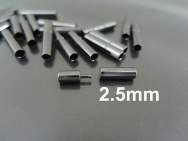 Finding - 2 Sets of Gunmetal Black Open Round Buckle End Cap Clasp ( Inside 2.5mm Diameter )