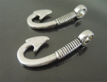 Finding - 2 pcs Antique Silver Fish Hook Clasp 29.5mm x 13mm ( Inside 4.5mm Hole )