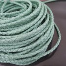 1 Yard 3mm Light Turquoise Blue Genuine Braided Round Leather Cord