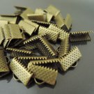 Finding - 20 pcs Antique Brass Flat Clamp Fold Over End Cap Crimps with Loop ( 13mm or 0.5 inch )