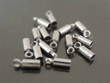 Finding - 20 pcs Silver Round Tone Cord Buckle End Cap with Loop ( inside 1mm Diameter )