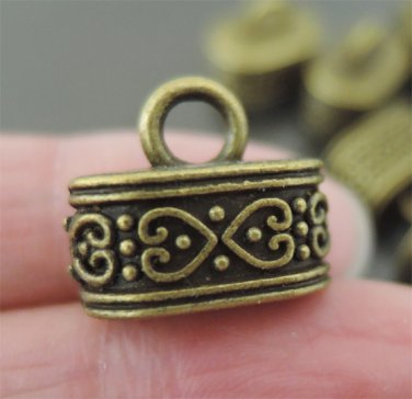 Finding - 4 pcs Antique Brass End Caps with Loop 15mm x 9mm ( Inside 12mm x 7mm Hole )