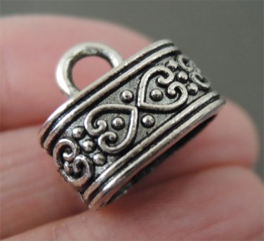 Finding - 4pcs Antique Silver End Caps with Loop 15mm x 9mm ( Inside 12mm x 7mm Hole )