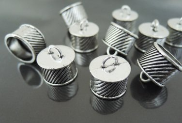 Finding - 4 pcs Antique Silver End Caps with Loop 16mm x 15mm ( inside 13.5mm Diamater )