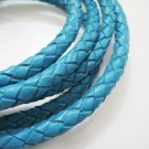 1 Yard 6mm Turquoise Blue Genuine Braided Round Leather Cord