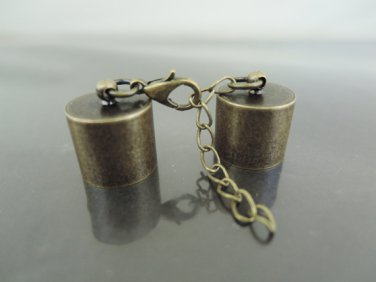 Finding - 2 Sets Antique Brass Round End Cap Lobster Clasp & Extender ( Inside 13mm Diameter )