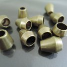 Finding - 10 pcs Antique Brass Plastic Round Tone Cord End Cap with Two Holes 14mm x 12mm