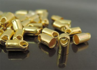 Finding - 20 pcs Gold Round Tone Cord Buckle End Cap with Loop ( inside 3mm Diameter )