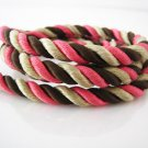 1 Yard of 8mm Brown Pink and Nature Color Braided String Cord