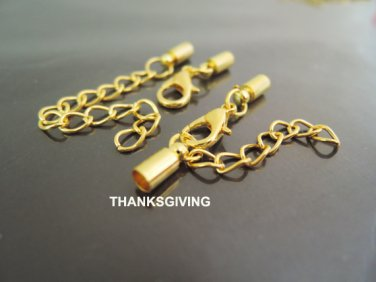 Finding - 4 Sets Gold End Cap with Lobster Clasp & Extender ( Inside 3mm Diameter )