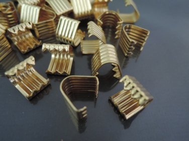 Finding - 10 pcs Gold Plated Flat Clamp Fold Over End Cap Crimps