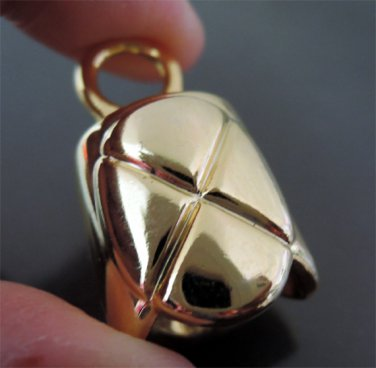 Finding - 2 pcs Gold Round Very Large Tone Cord Buckle End Cap with Loop ( inside 15mm x 13mm )
