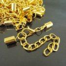 Finding - 4 Sets Gold Adjustable Fold Over Crimps With Lobster Clasp and Extender ( Inside 3mm )