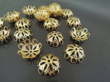 Finding - 20pcs Gold Plated Large Brass Filigree Bead Casp Bead Cones with Hole 14mm x 5mm