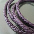 1 Yard 6mm Purple Genuine Braided Round Leather Cord