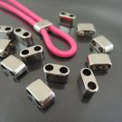 Finding - 4 pcs Silver Plastic Flat Head Spacers Beads with Two Holes 11mm x 6.5mm x 5mm