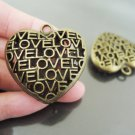 Finding - 1 pc Antique Brass Big Heart Love Charm Pendant 35mm x 35mm x 11mm