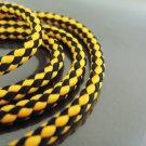 1 Yard of 5mm Orange and Black Striped String Round Braided Trim Cotton Rope Cord