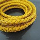 1 Yard 5mm Yellow Genuine Braided Round Leather Cord