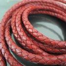 1 Yard 6mm Vintage Red Genuine Braided Round Leather Cord